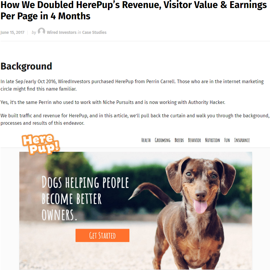 How We Doubled HerePup's Revenue, Visitor Value & Earnings Per Page in 4 Months