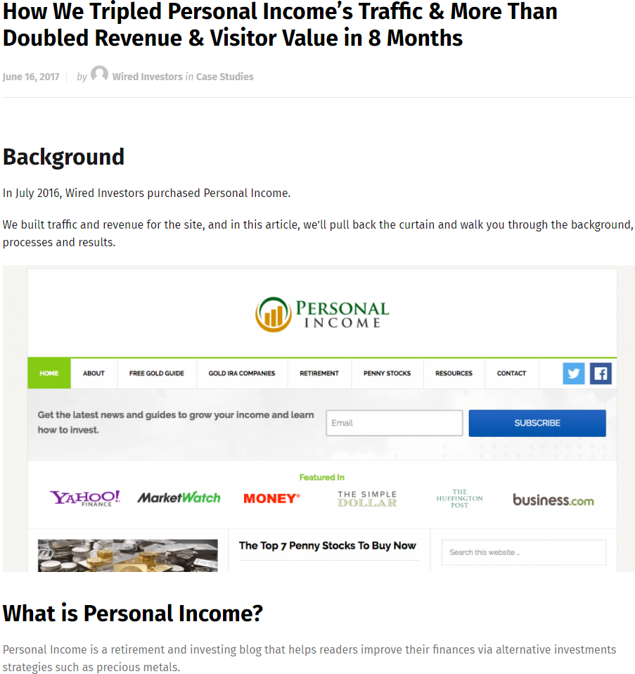 How We Tripled Personal Income's Traffic & More Than Doubled Revenue & Visitor Value in 8 Months
